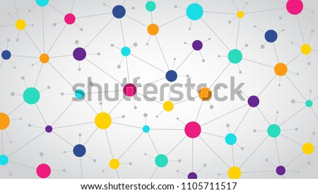 Network color communication background, abstract social network, flat vector design
