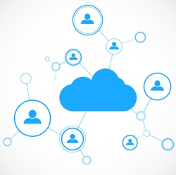 Network concept. Cloud technology. Social networking. Design template. Vector illustration