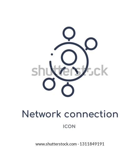 network connection icon from people outline collection. Thin line network connection icon isolated on white background.