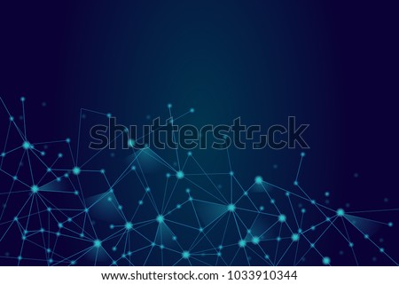 Stock Photo Network connection isolated on blue background. For web site, wallpaper, poster, placard, ad, cover and print materials. Creative art, modern abstract concept. Vector illustration network, eps 10