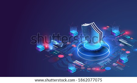 Network data security isometric. Online server protection system concept with data center or blockchain. Data secure. Web crime or virus attack. Symbol of protection. Hacking concept. Vector