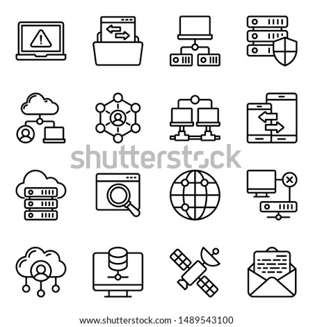 Network devices line icons pack having advanced visuals driving the features of connectivity channels vectors.