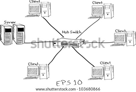 network diagram illustrator line  stock vector