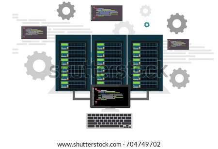 Network engineers working in server room for hardware diagnostic. Server maintenance. System administrator. Network engineer. Network programming,