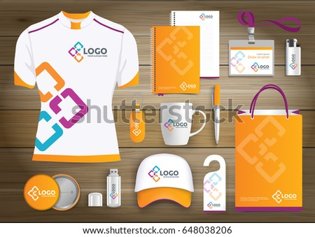 network Gift Items, Color promotional souvenirs design for link corporate identity with technology lines. Stationery set, digital tech template