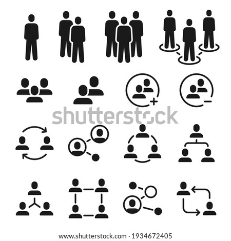 Network group icons. Social community, business team structure, people communication icon. Add member to employee meeting symbol vector set Foto stock ©