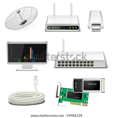 network hardware icon set