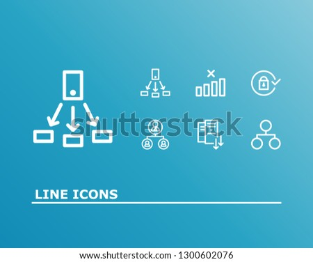 Network icon set and hr system with network, share and server scaling. Web related network icon vector for web UI logo design.