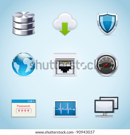 Network icons - stock vector