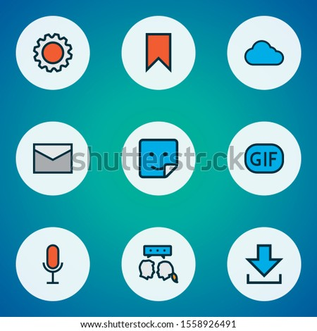Network icons colored line set with gif sticker, settings, voice chat and other badge elements. Isolated vector illustration network icons.