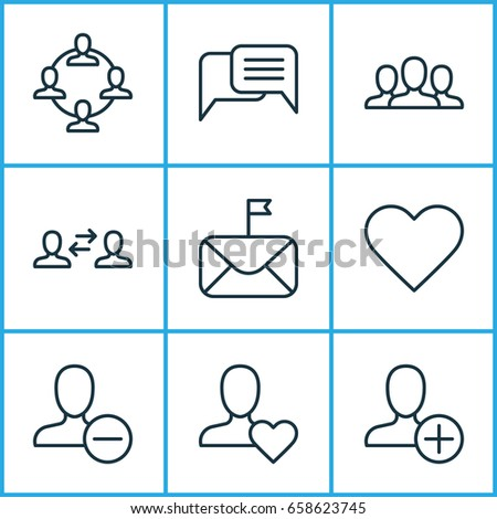 Network Icons Set. Collection Of Society, Favorite Person, Online Chatting And Other Elements. Also Includes Symbols Such As Clients, Feelings, Add.