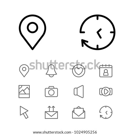 Network icons set with pin, volume and date block elements. Set of network icons and cursor concept. Editable vector elements for logo app UI design.