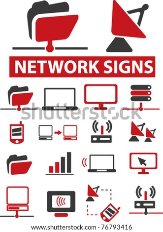 network icons, signs, vector illustrations