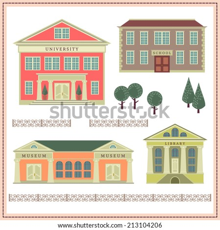Network illustration with buildings and elements. University. Library. School. Museum.