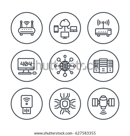 network, internet data technology line icons over white