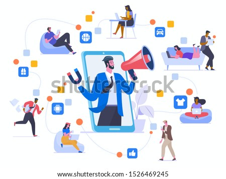 Network marketing flat vector illustration. Friends chatting, sharing recommendations and promoting each other goods cartoon characters. Social media viral advertising. Word of mouth marketing method