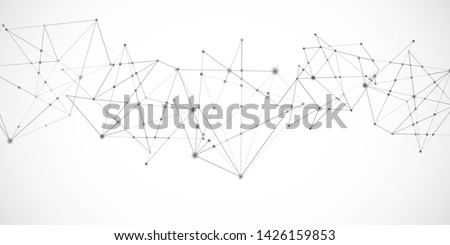 Network nodes. Vector connect lines and dots. polygonal technology shapes Banner template. Connection science and technology background. Molecular, social media, digital structure, connected points