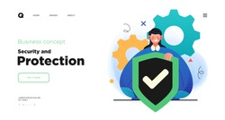 Network security, data protection and information privacy concept. Website Landing page template designs. Web page layout with modern business concepts illustration.