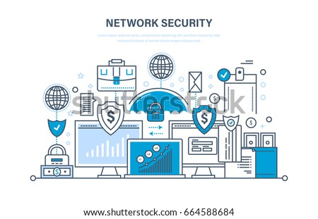 Network security, personal data protection, payment security, database secure, preservation and confidentiality of information. Illustration thin line design of vector doodles, infographics elements.