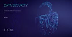 Network security protection lock. Information technology cyber security. IT teamwork cloud email data protection. Vector illustration.