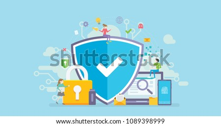 Network Security Tiny People Character Concept Vector Illustration, Suitable For Wallpaper, Banner, Background, Card, Book Illustration, Web Landing Page, and Other Related Creative