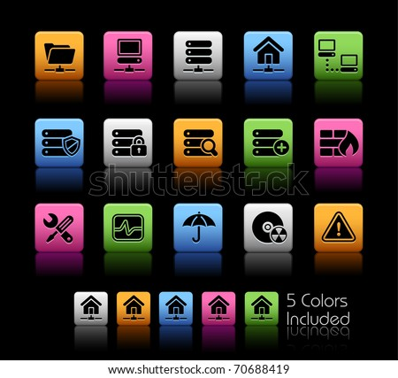 Network, Server & Hosting // Color Box -------It includes 5 color versions for each icon in different layers ---------
