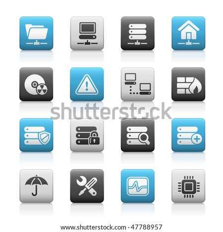 Network, Server & Hosting Web Icons // Matte Series