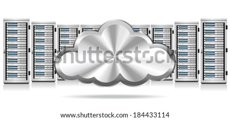 Network Servers with Cloud Icon - Information technology conceptual image
