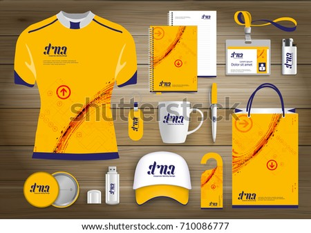 Network Sport Gift Items, Color promotional souvenirs design for link corporate identity with technology lines. Stationery set, digital tech template Promotion, Yellow, Orange