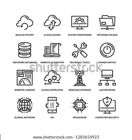 NETWORK TECHNOLOGY LINE ICON SET