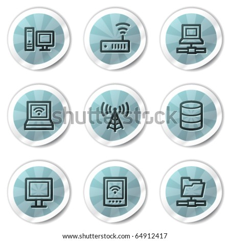 Network web icons, blue shine stickers series