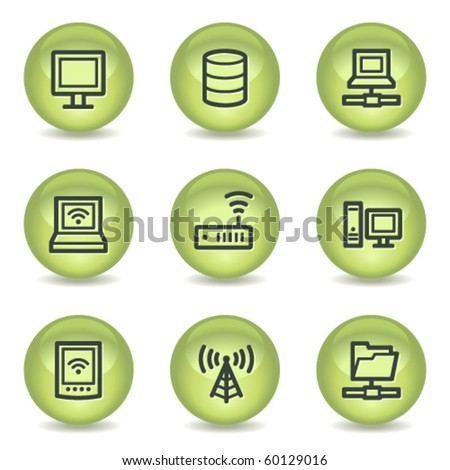 Network web icons , green glossy circle buttons