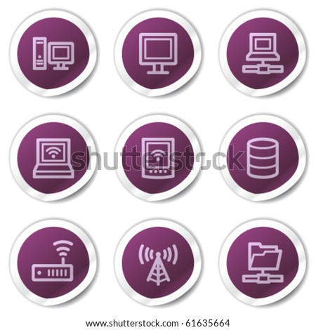Network web icons, purple stickers series