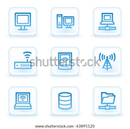 Network web icons , white square buttons