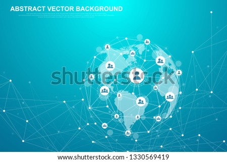Networking connection concept abstract technology. Global network connections with points and lines. Big data visualization. Futuristic infographic. Vector illustration.