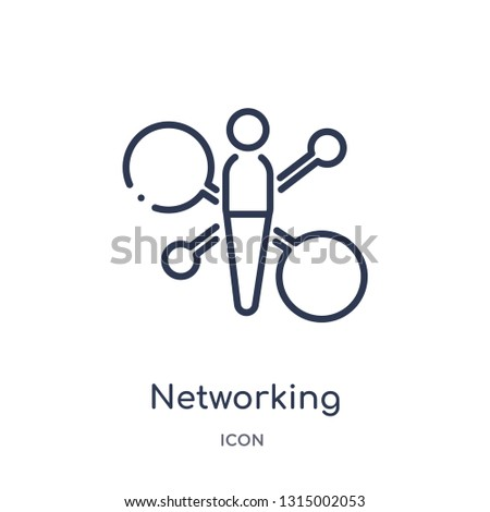 networking connection icon from people outline collection. Thin line networking connection icon isolated on white background.