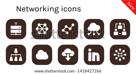 networking icon set. 10 filled networking icons.  Collection Of - Server, Connect, Connection, Cloud computing, Network, Hierarchical structure, Linkedin