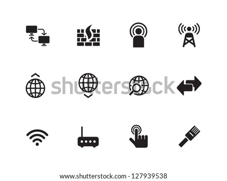 Networking icons on white background. Vector illustration.