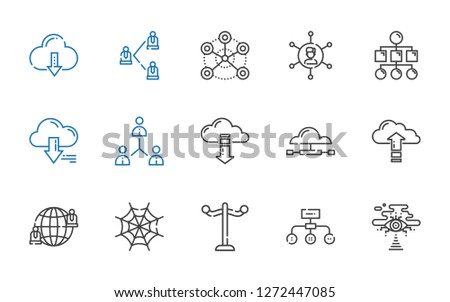 networking icons set. Collection of networking with cloud computing, hierarchical structure, rack, spider web, network, server, sitemap. Editable and scalable networking icons.