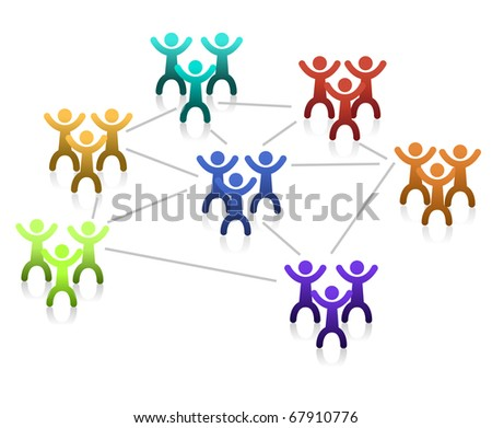 Networking teamwork graph isolated over a white background.