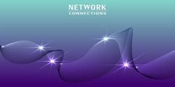 Networks Structure, Telecommunications Concept Design - Network Connections, Transparent Wavy Geometric Mesh, Vector Illustration