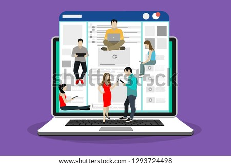 Networks webpage concept vector illustration of young people using mobile gadgets such as laptop, digital tablet and smartphone for social networks, news and sharing. Flat people sitting on web page