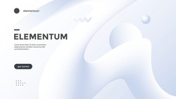 Neumorphism abstract poster with gradient white wave. Vector neumorphic duotone background with geometric 3d shapes. Minimal compositions design for cover, landing page.