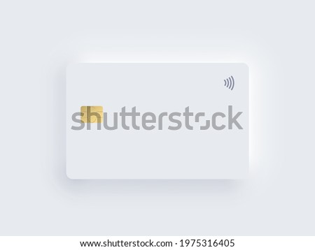 Neumorphism plastic bank credit card template with gold chip and shadow. Vector realistic object isolated on white background. Digital technology mockup. Contactless, wireless online payment concept