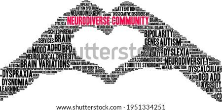 Neurodiverse Community word cloud on a white background.  Foto d'archivio ©