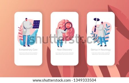 Neurological Examination Concept Mobile App Page Onboard Screen Set. Healthcare Technology. Neurologist Doctor Explore Tomography Result Website or Web Page. Flat Cartoon Vector Illustration