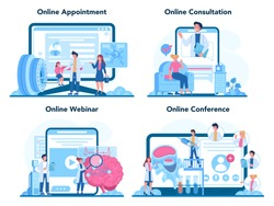 Neurologist online service or platform set. Doctor examine human brain. Idea of doctor caring about patient health. Online appointment, consultation, webinar, conference. Vector illustration