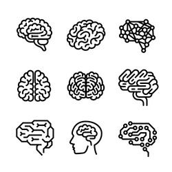 Neurology brain icon vector set. Outline set of neurology brain vector icons for web design isolated on white background
