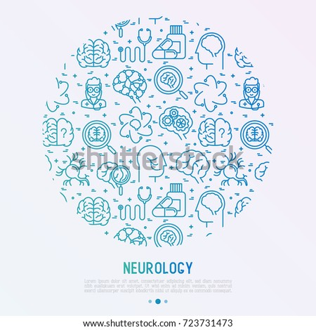 Neurology concept in circle with thin line icons: brain, neuron, neural connections, neurologist, magnifier. Vector illustration for medical survey or report.