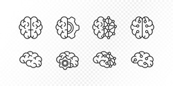 Neurology science, human brain research concept. Vector flat illustration icon set. Collection of simple outline brain sign. Design element for medical banner, web ui, psychology infographic, ai tech.